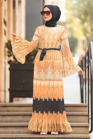 Women's Ruffle Sleeve Patterned Gold Modest Long Dress