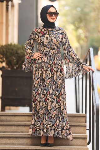 Women's Ruffle Sleeve Floral Pattern Black Modest Long Dress