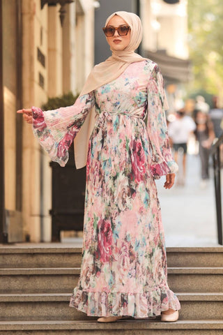 Women's Ruffle Sleeve Floral Pattern Powder Rose Modest Dress