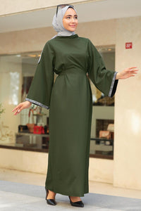 Women's Ruffle Sleeves Khaki Modest Long Dress