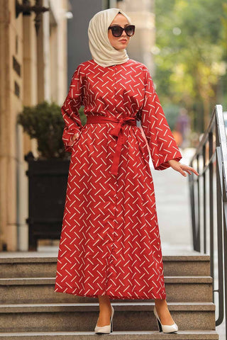Women's Ruffle Sleeve Patterned Tile Red Modest Abaya