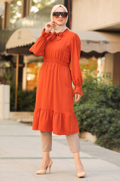 Women's Ruffle Sleeve Tile Red Modest Tunic