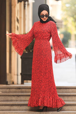 Women's Ruffle Sleeves Patterned Vermilion Modest Long Dress