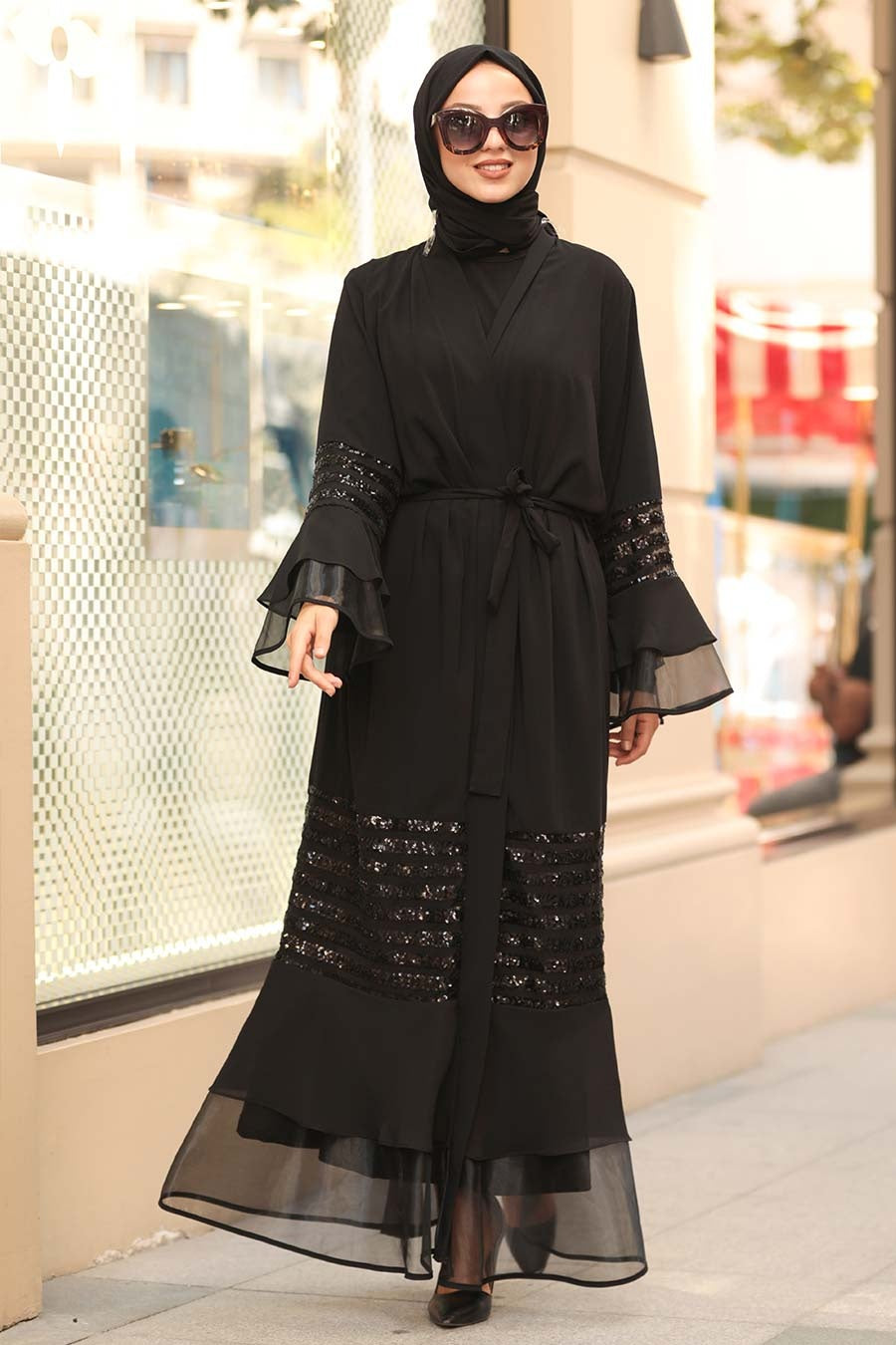 Women's Ruffle Sleeve Black Modest Abaya