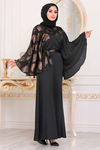 Women's Ruffle Sleeves Black Modest Long Dress