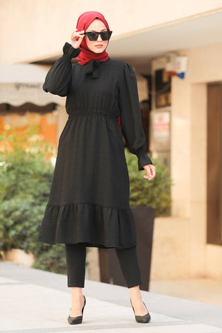 Women's Ruffle Sleeve Black Modest Tunic