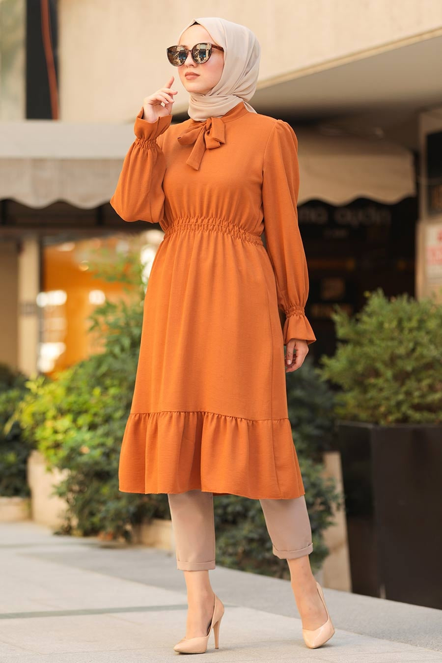 Women's Ruffle Sleeve Ginger Modest Tunic