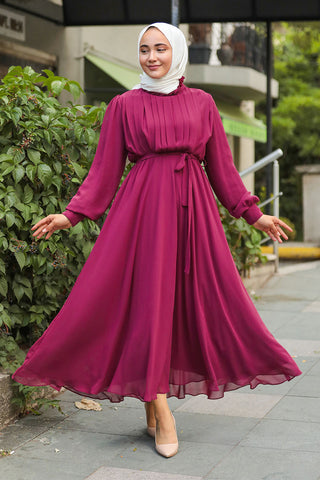 Women's Pleated Top Claret Red Modest Long Dress
