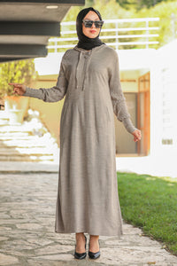 Women's Zip Collar Beige Modest Tricot Long Dress