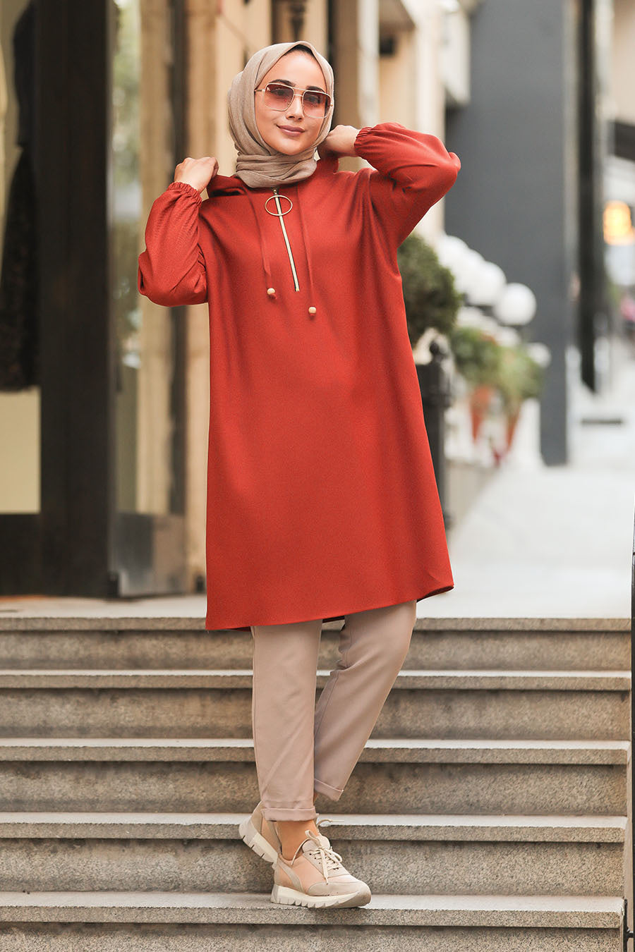 Women's Half Zipper Tile Red Modest Tunic / Sweatshirt
