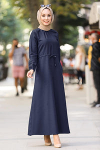 Women's Half Zipped Shirred Waist Navy Blue Modest Tricot Long Dress