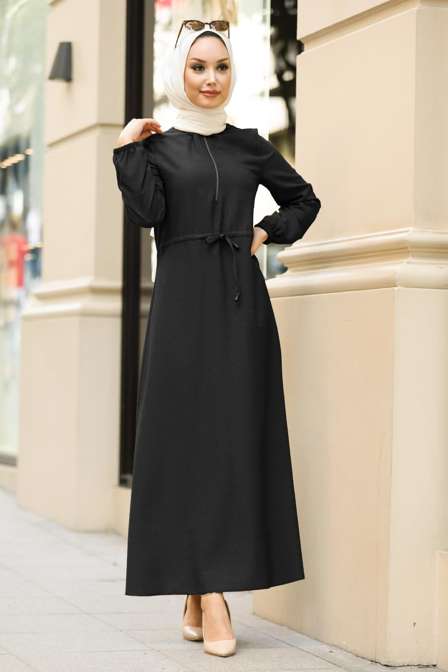 Women's Half Zipped Shirred Waist Black Modest Tricot Long Dress