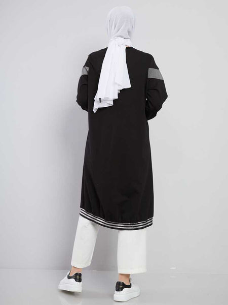 Women's Zipped Black Sport Modest Tunic
