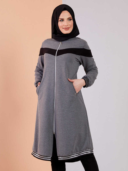 Women's Zipped Grey Sport Modest Tunic