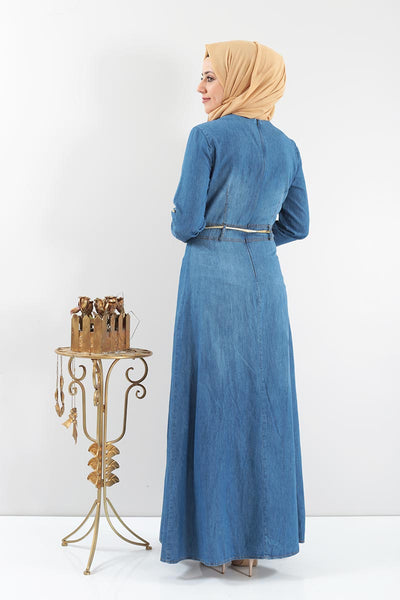 Women's Embroidered Denim Long Dress