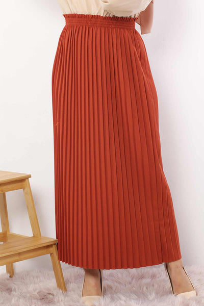 Women's Pleated Tile Red Long Pencil Skirt
