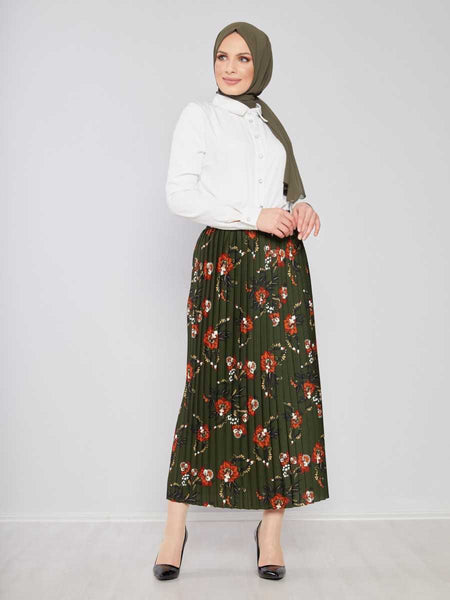 Women's Pleated Patterned Khaki Modest Long Skirt