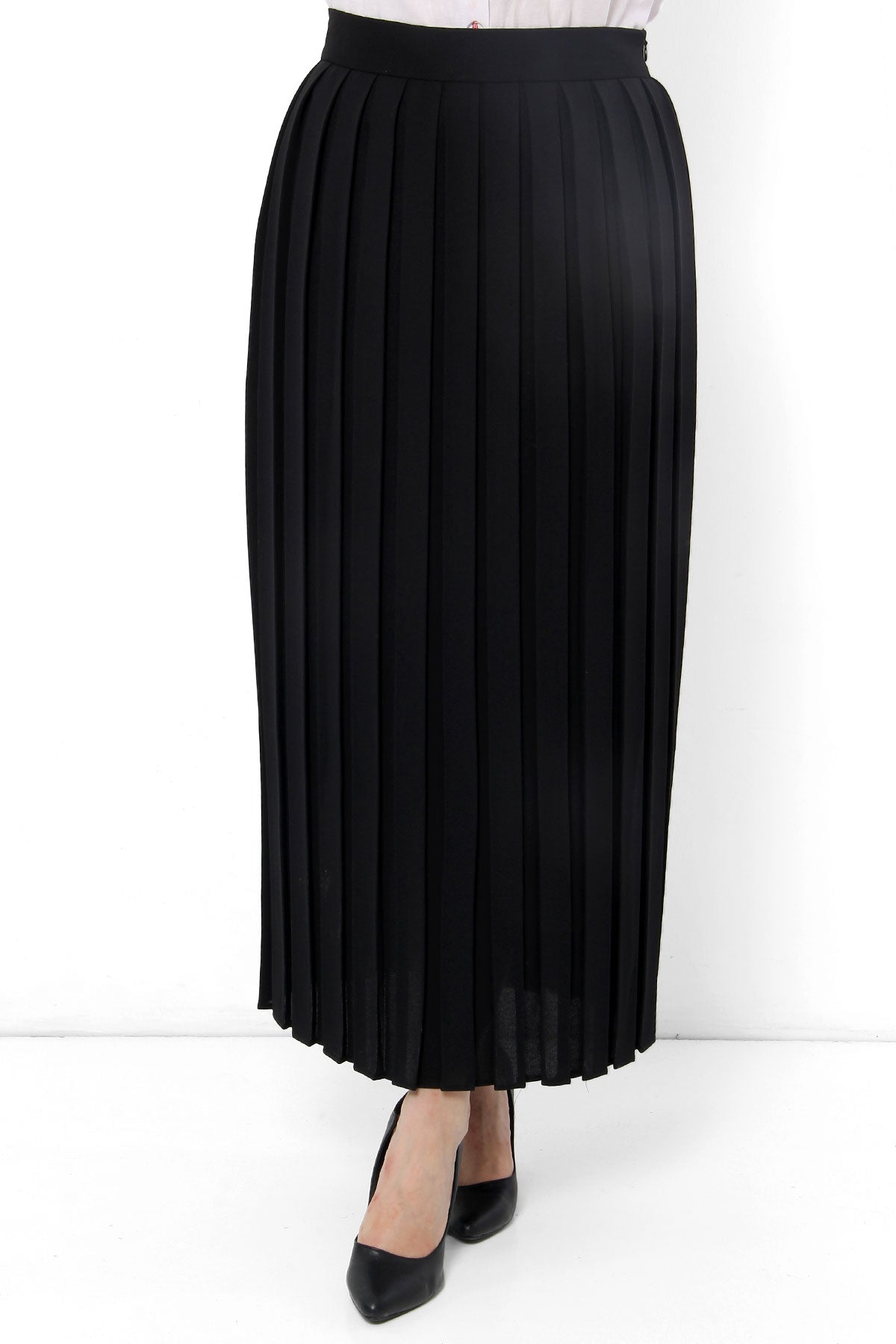 Women's Pleated Black Modest Midi Skirt
