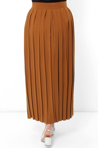 Women's Pleated Ginger Modest Long Skirt