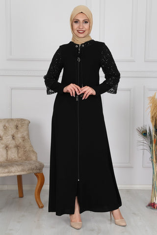 Women's Sequin Detail Black Abaya