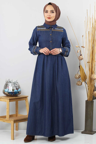 Women's Sequin Detail Dark Blue Denim Long Dress