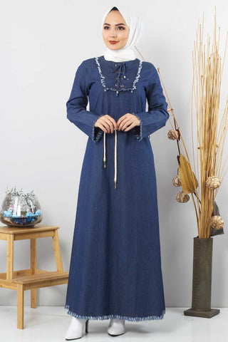 Women's Fringe Detail Dark Blue Denim Long Dress