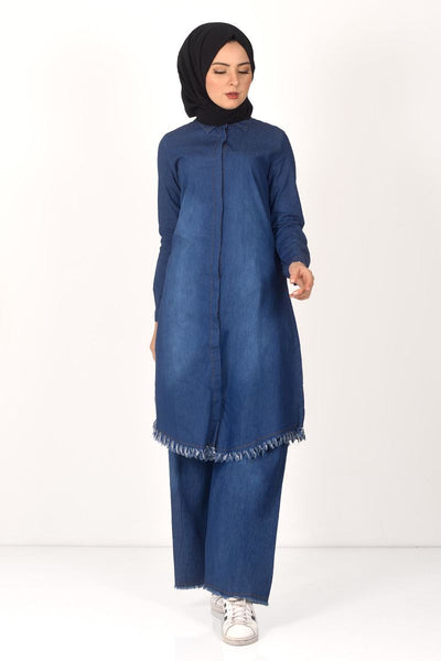 Women's Fringe Detail Dark Blue Denim Tunic & Pants Set