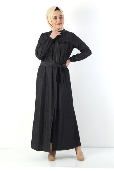 Women's Black Denim Abaya