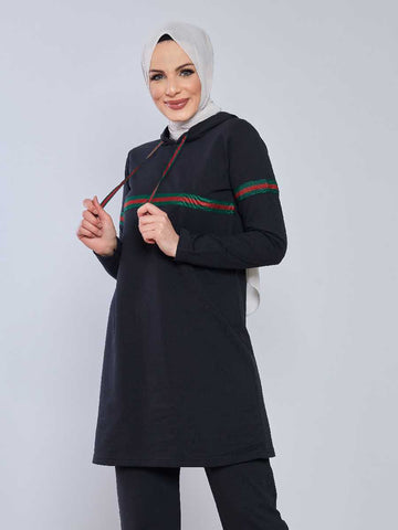 Women's Striped Black Modest Tracksuit