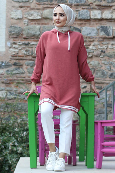 Women's Hooded Striped Dusty Rose Tunic