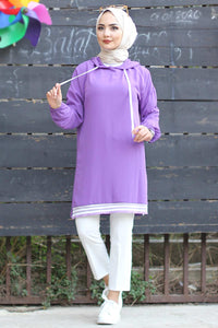 Women's Hooded Striped Purple Tunic