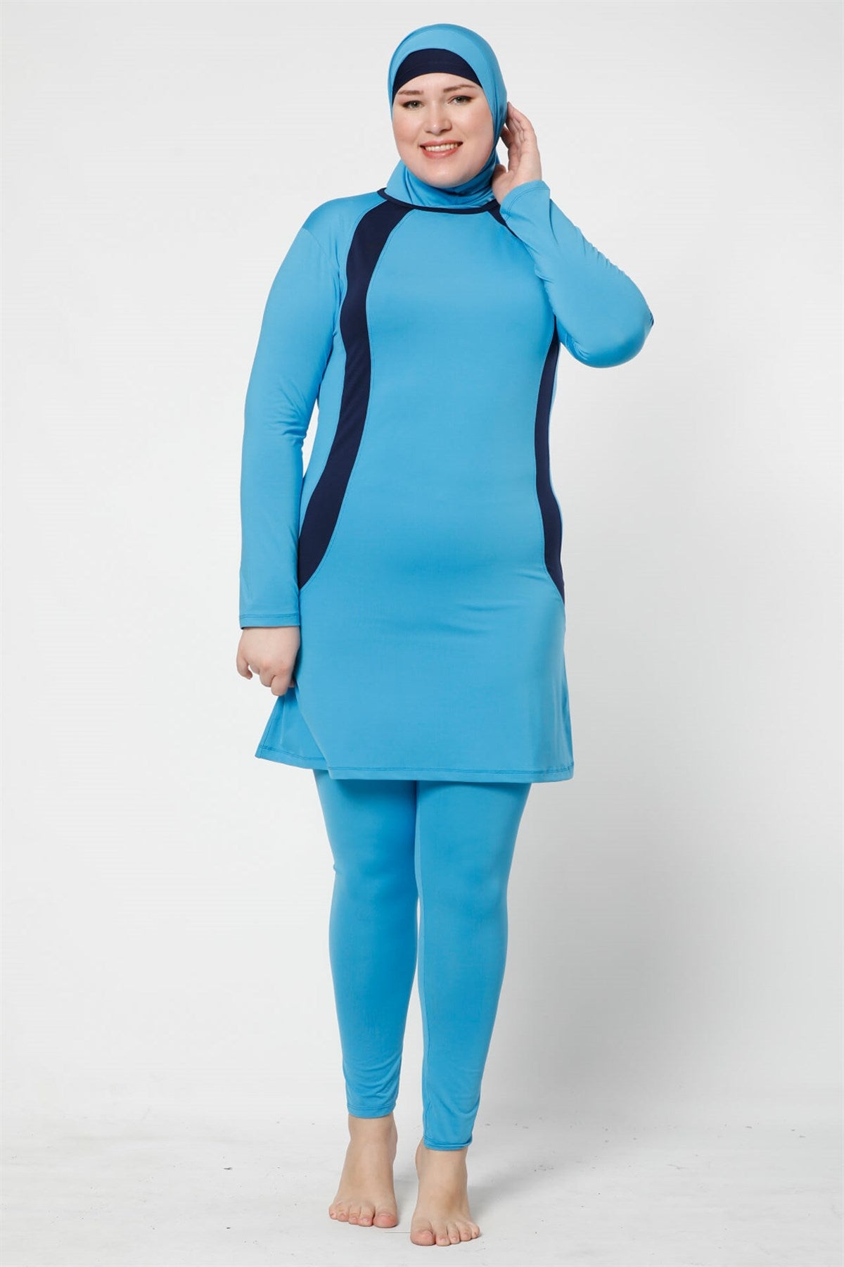 Women's Oversize Long Sleeve Blue Lycra Modest Swimwear