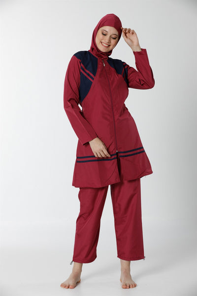 Women's Long Sleeve Zipped Modest Swimwear
