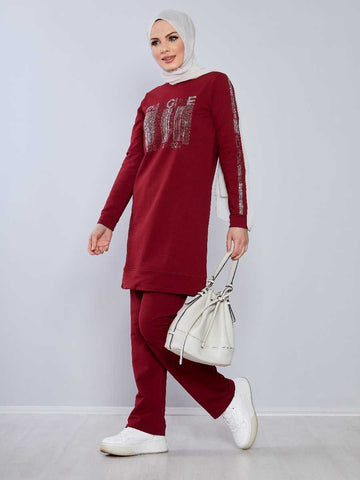 Women's Gemmed Claret Red Modest Tracksuit