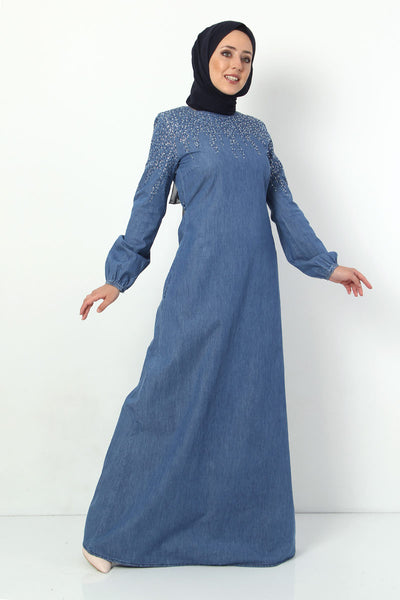 Women's Gemmed Light Blue Denim Long Dress