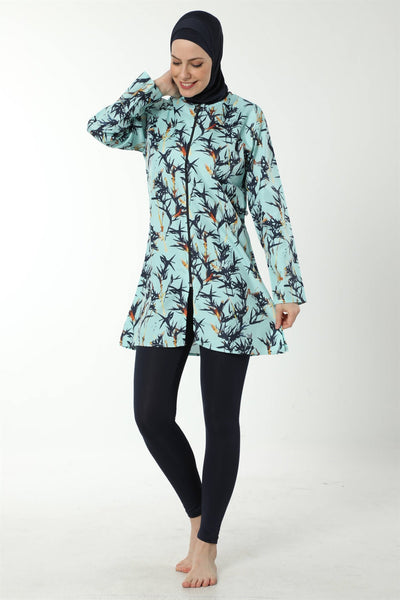 Women's Long Sleeve Patterned Modest Swimwear
