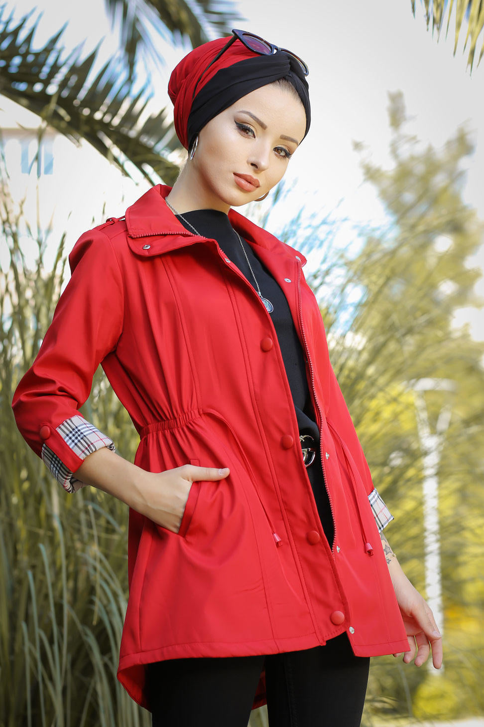 Women's Pocket Red Modest Coat