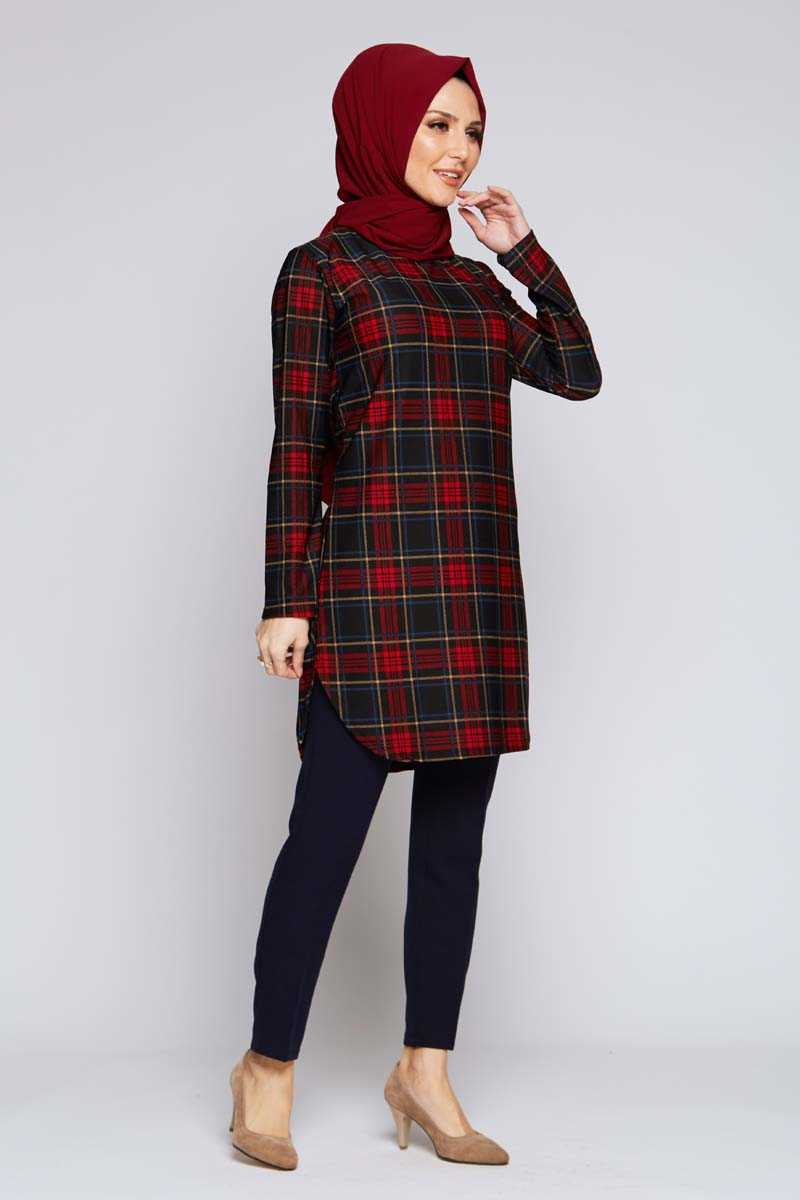 Women's Checkered Claret Red Modest Tunic