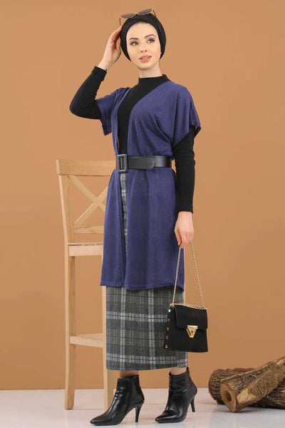 Women's Navy Blue Modest Vest & Midi Skirt Set