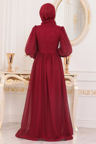 Women's Claret Red Modest Evening Dress