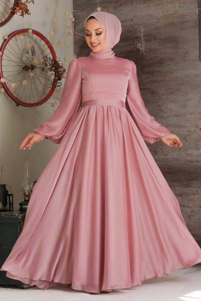 Women's Balloon Sleeves Powder Rose Modest Evening Dress