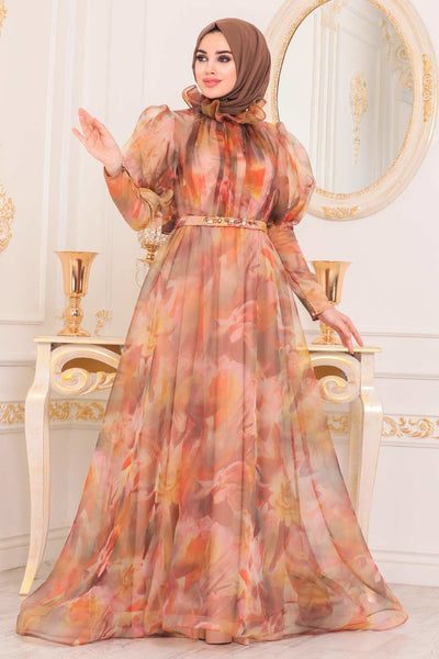 Women's Balloon Sleeves Patterned Orange Modest Evening Dress