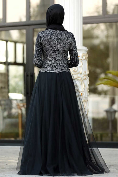Women's Gemmed Top Black Evening Dress