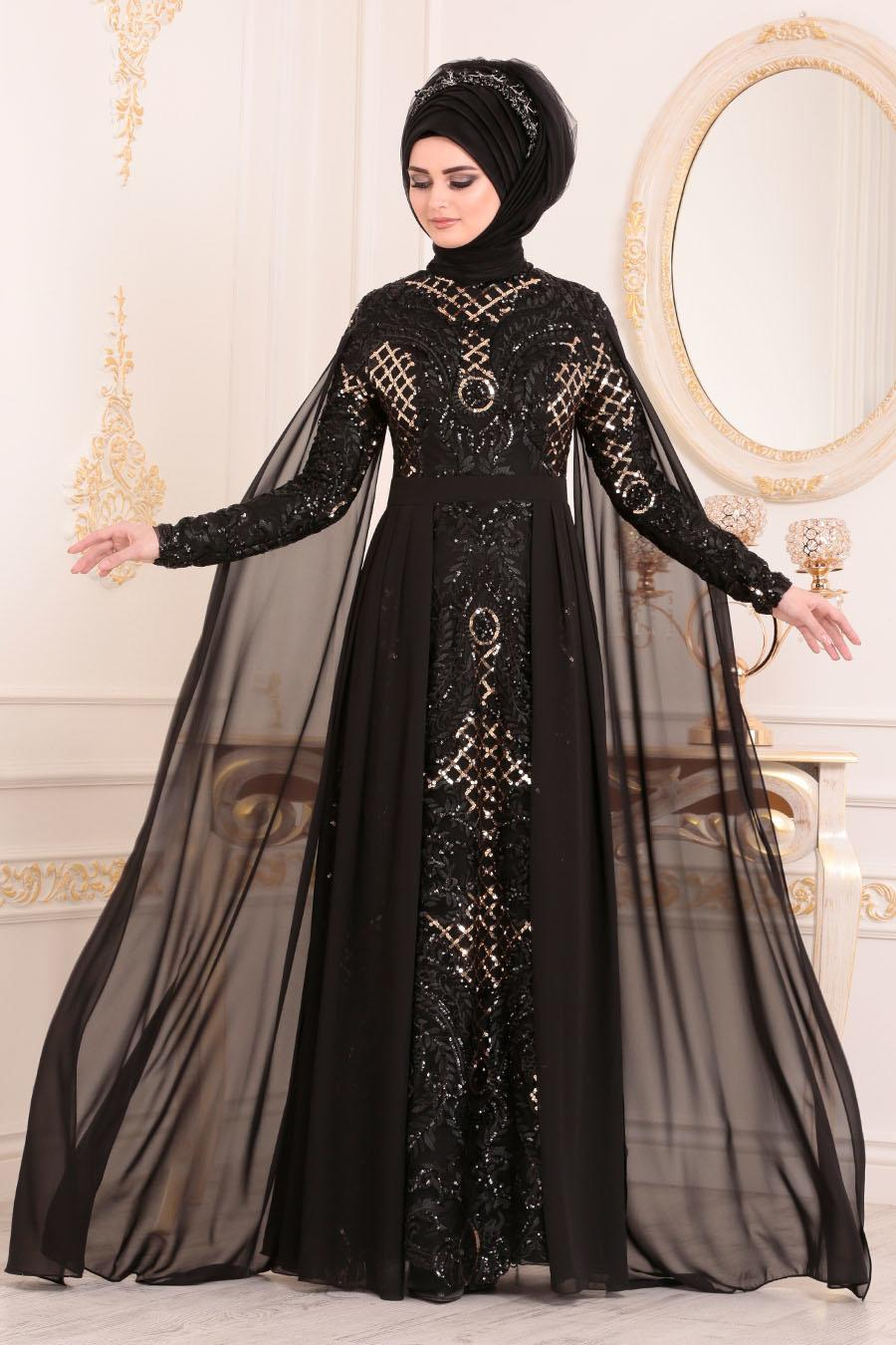 Women's Cape Detail Sequin Black Evening Dress