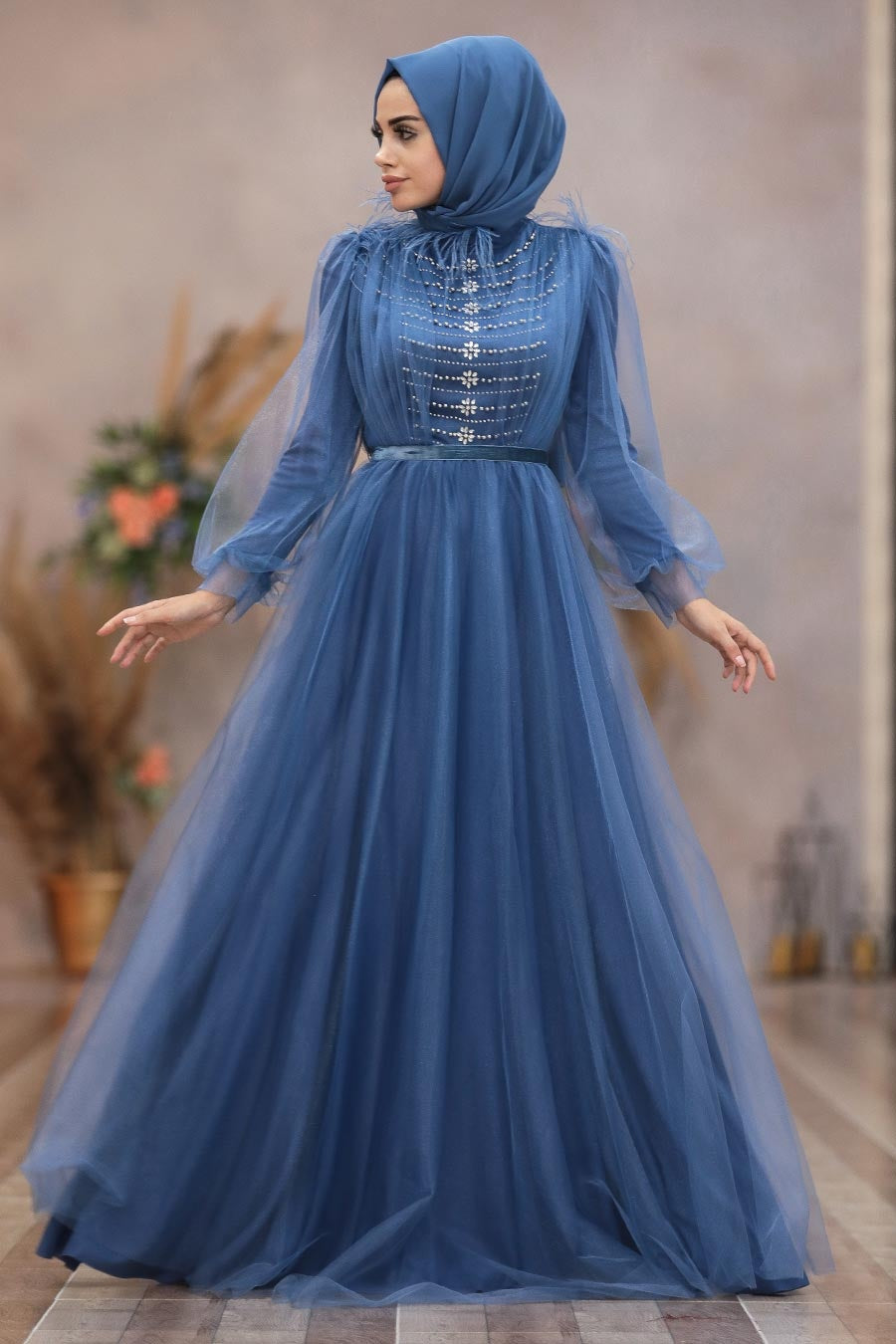 Women's Beaded Blue Modest Evening Dress