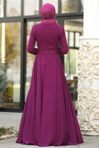 Women's Beaded Purple Evening Dress