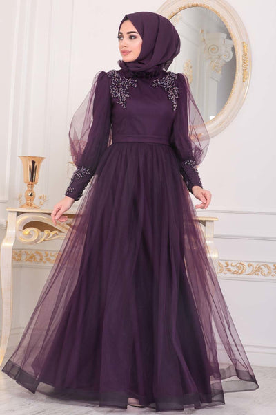 Women's Beaded Damson Modest Evening Dress