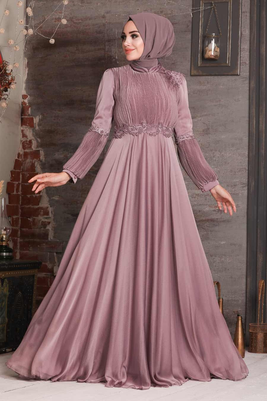 Women's Bead Embroidered Dusty Rose Modest Evening Dress