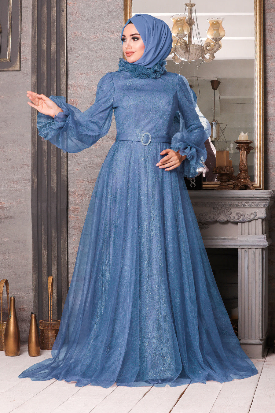 Women's Lace Embroidered Indigo Modest Evening Dress