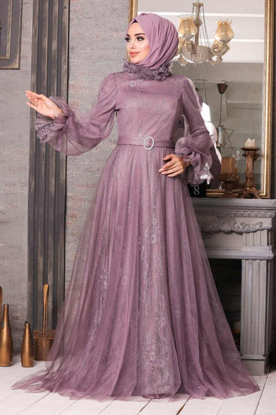 Women's Lace Embroidered Lilac Modest Evening Dress